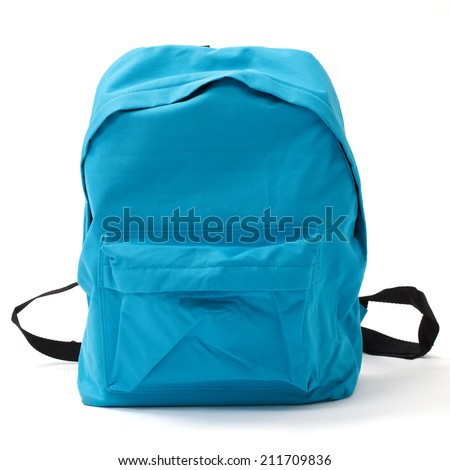 Blue school bag isolated on white with clipping path - stock photo