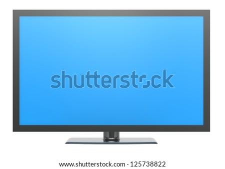 Blue screen TV - stock photo