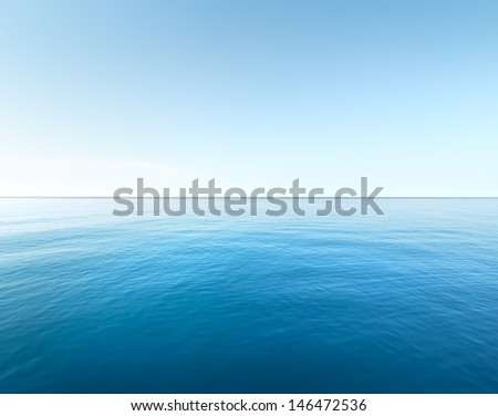 Blue sea and a clear blue sky - stock photo