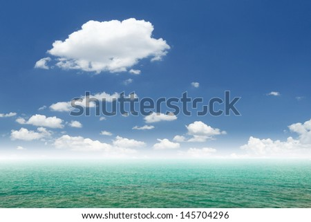 blue sea and cloud sky