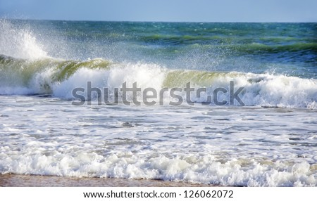 Blue Sea And Coastal Waves - stock photo
