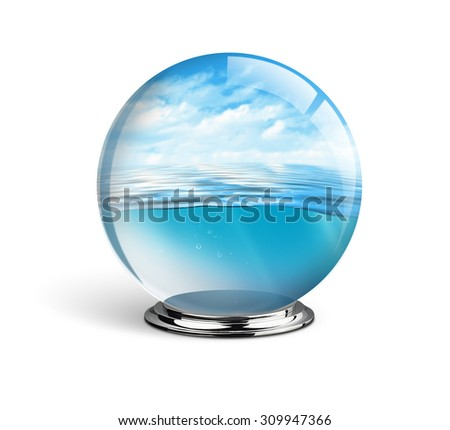 Blue sea and sky in the glass ball isolated on white background