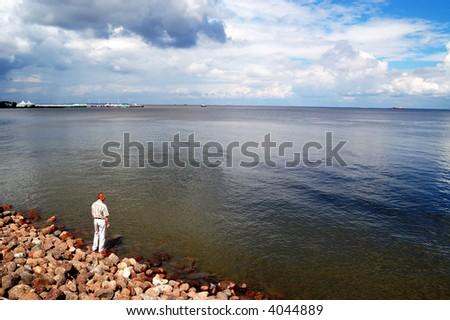 blue sea & sky - stock photo