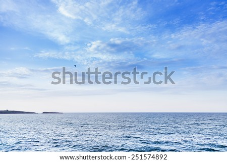 blue sea sky with clouds - stock photo