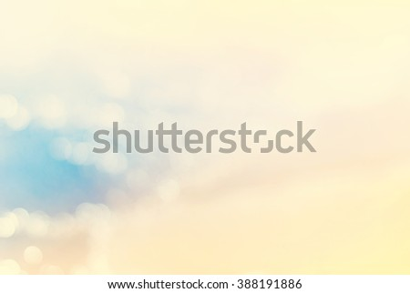 Blue Sea Yellow Sand Beach Coast Line Holiday Background Defocused  Bokeh Pastel Color - stock photo