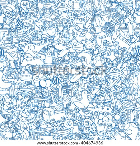 Blue Seamlesbackground of Funny baby toys set. art doodle collection of hand drawn icons for baby shower or scrapbook - stock photo