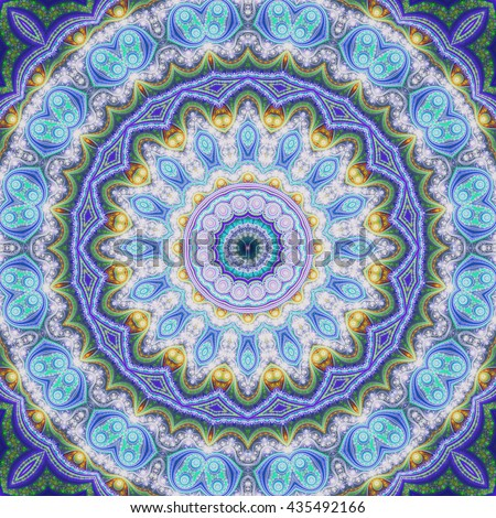 Blue seamless fractal mandala, digital artwork for creative graphic design
