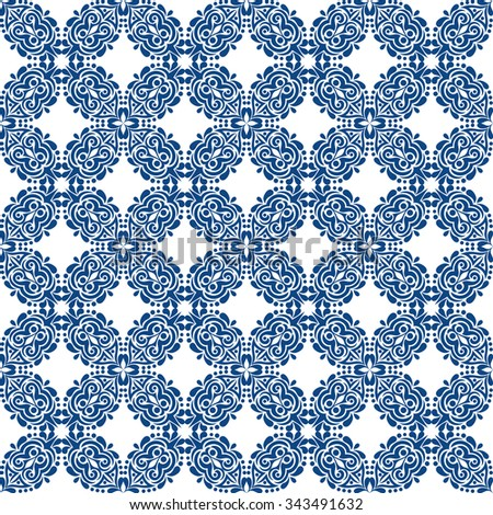 blue seamless pattern on white background