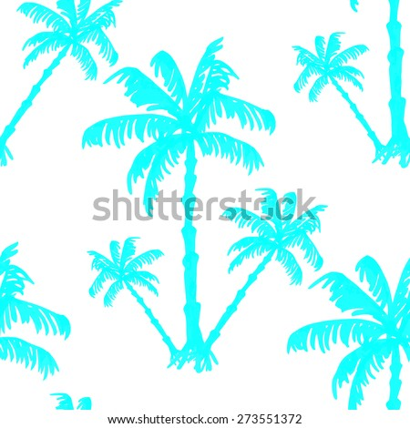 Blue seamless pattern silhouette of palm trees. Raster version.