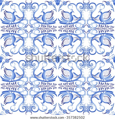 Blue seamless pattern with birds in the ethnic style of painting on porcelain. Light gzhel ornament. Rasterized version.