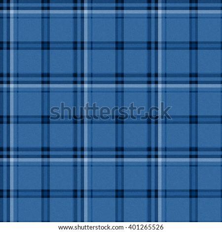 blue seamless tartan textile pattern background - stock photo