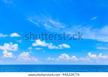 blue seascape and white clouds with blue sky Thailand - stock photo