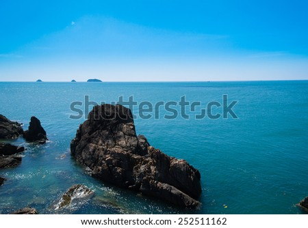 Blue Seascape Lagoon Mountains  - stock photo