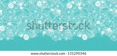 Blue seashells line art horizontal seamless pattern border raster - stock photo