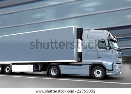 blue semi truck - stock photo