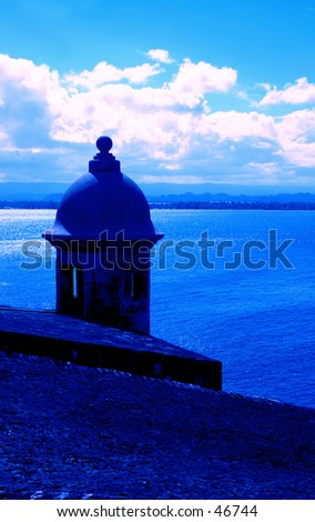 Blue Sentry Box at Fort El Morro San Juan Puerto Rico - stock photo
