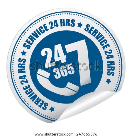 Blue 24 7 365 Service 24 HRS or 24 Hours A Day, 7 Days A Week, 365 Days A Year Call Center Service Sticker, Icon or Label Isolated on White Background - stock photo
