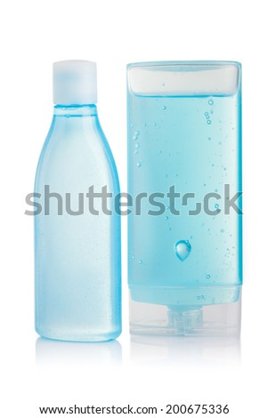 Blue shampoo bottle isolated on white