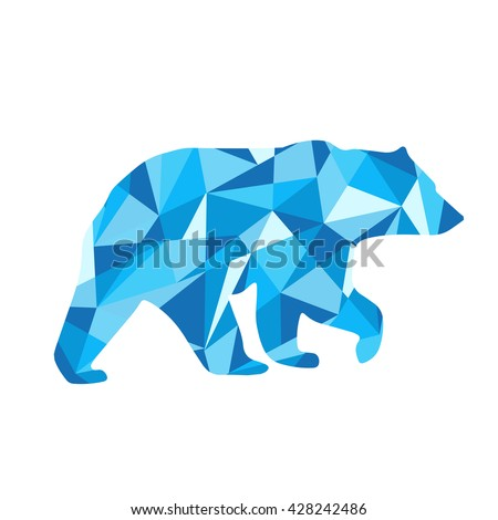 blue shapes abstract bear. Animal isolated illustration