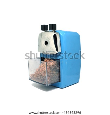 blue sharpener of pencil isolated on white background - stock photo