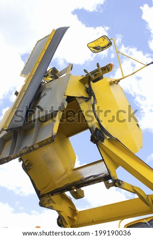 Blue Sheet Covering The Construction Materials - stock photo