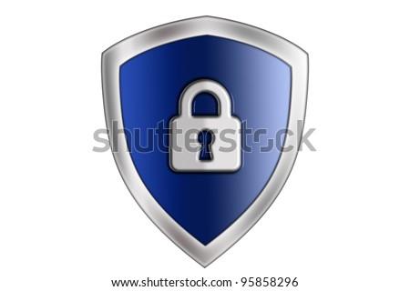 blue shield lock - stock photo
