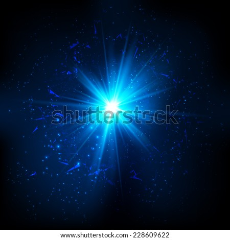 Blue shining cosmic flash on black background