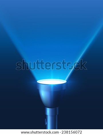 Blue shining flashlight triangular light background - stock photo