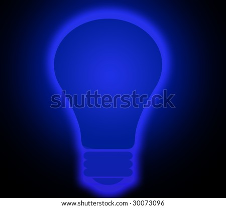 blue shining lightbulb - stock photo