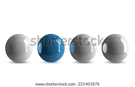 Blue shiny ball in row of white ones isolated on white - stock photo