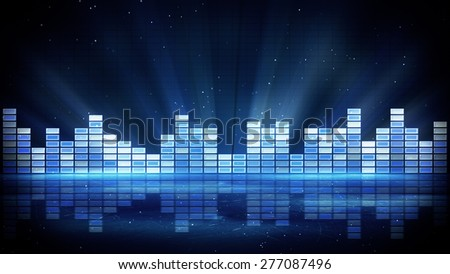 blue shiny equalizer. Computer generated abstract party background - stock photo