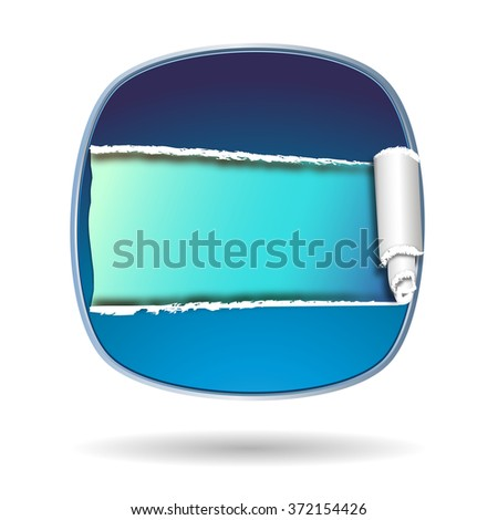 blue shiny shield with opening and free space inside - stock photo
