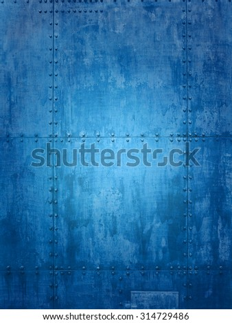 Blue ship plate texture ideal for backgrounds - stock photo