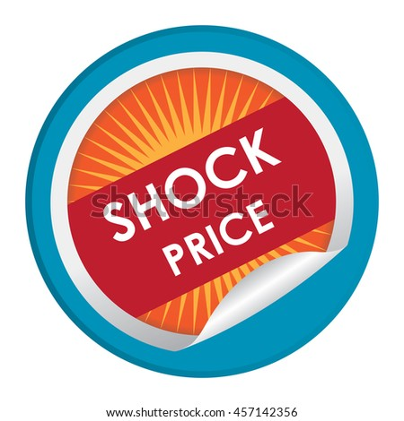 Blue Shock Price Special Promotion Campaign Infographics Icon on Circle Peeling Sticker Isolated on White Background  - stock photo