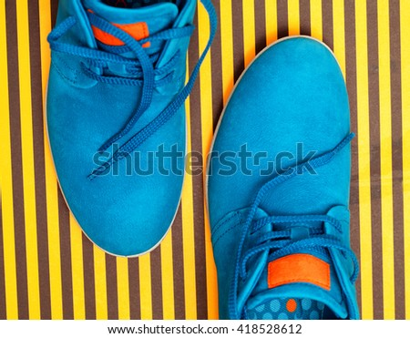 blue shoes. Top view - stock photo