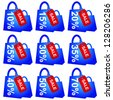 Blue Shopping Bag With Red Sale Tag and 10 - 70 Percent Discount Isolated on White Background - stock photo