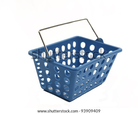 Blue shopping basket on white - stock photo