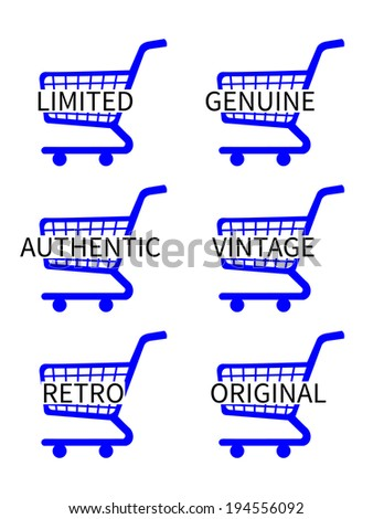 Blue Shopping Cart Icons with Vintage Texts - stock photo