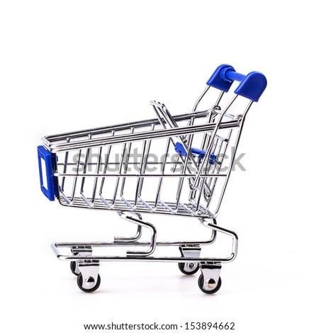 Blue shopping cart model on white background,