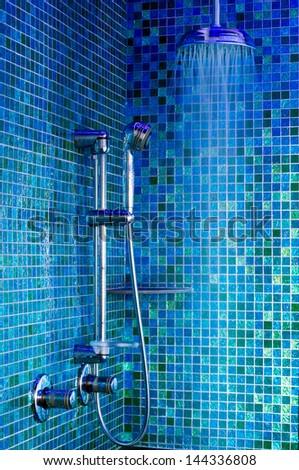 Blue Shower Stock Photo (Royalty Free) 144336808 - Shutterstock