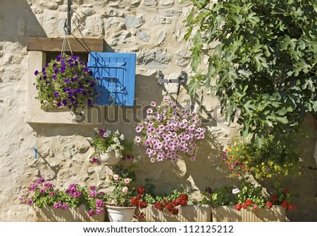 Blue shutter, house in French Village. Provence. France. - stock photo