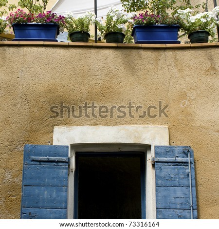 Blue shutter on window. Provence France - stock photo
