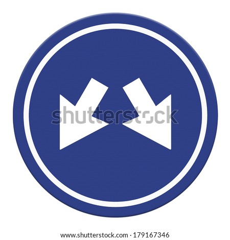 Blue Sign with two Arrows - Two directions on a blue road sign , Part of a series. - stock photo