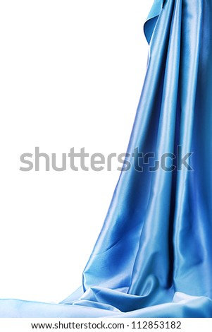 blue silk drape isolated on white - stock photo