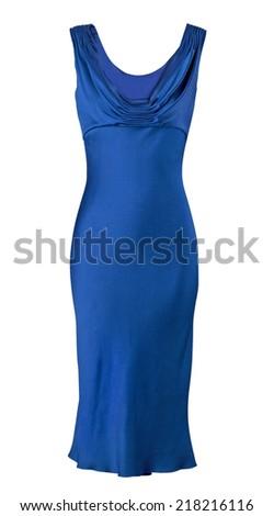 blue silk dress isolated on white - stock photo