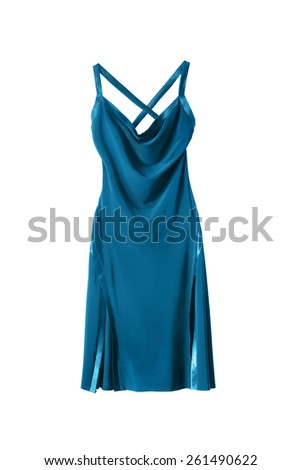 Blue silk evening dress isolated over white