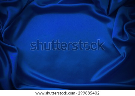 blue silk fabric background - stock photo