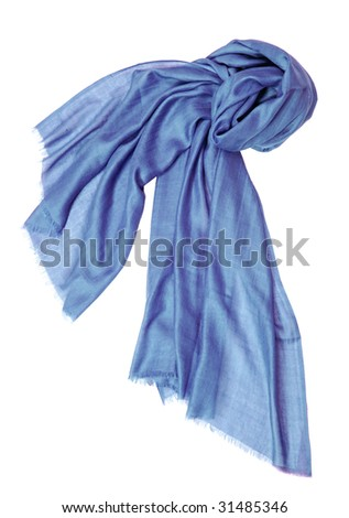 blue silk scarf - stock photo