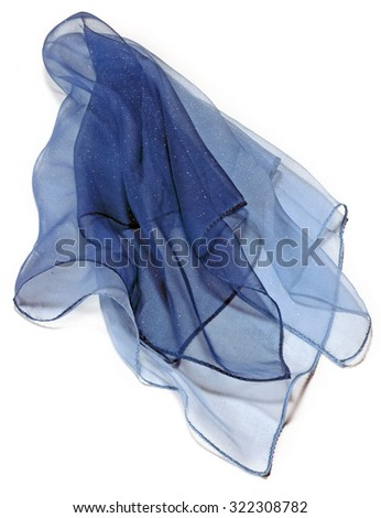 blue silk transparent foulard over white  - stock photo