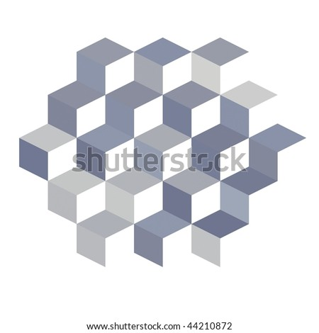 Blue, silver and gray 3D cubes on white background - stock photo